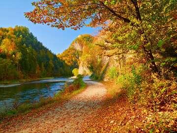 Jesienny krajobraz nad rzeką Dunajec (Słowacja)