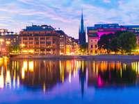 Wieczorna panorama Sztokholmu (Szwecja)