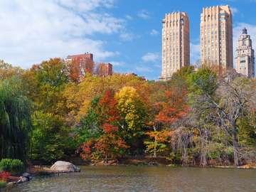 Jezioro w jesiennym Central Parku (USA)