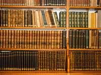 Półki ze starymi książkami