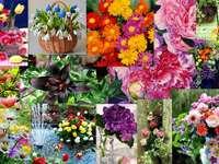 Collage kwiatowy puzzle ze zdjęcia