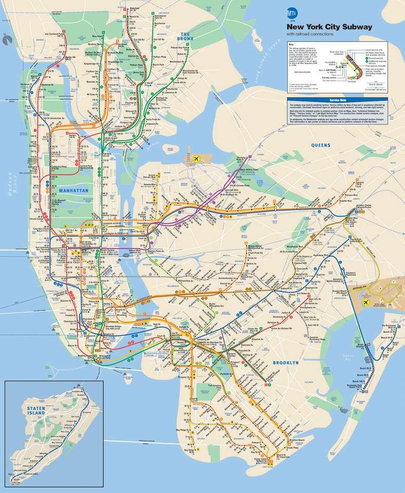 Mapa metra w Nowym Jorku