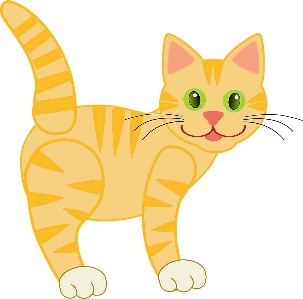 Żółty kotek z zielonymi oczami