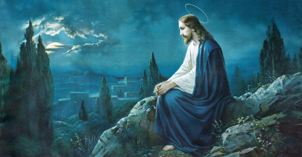 Jezus patrzy na księżyc
