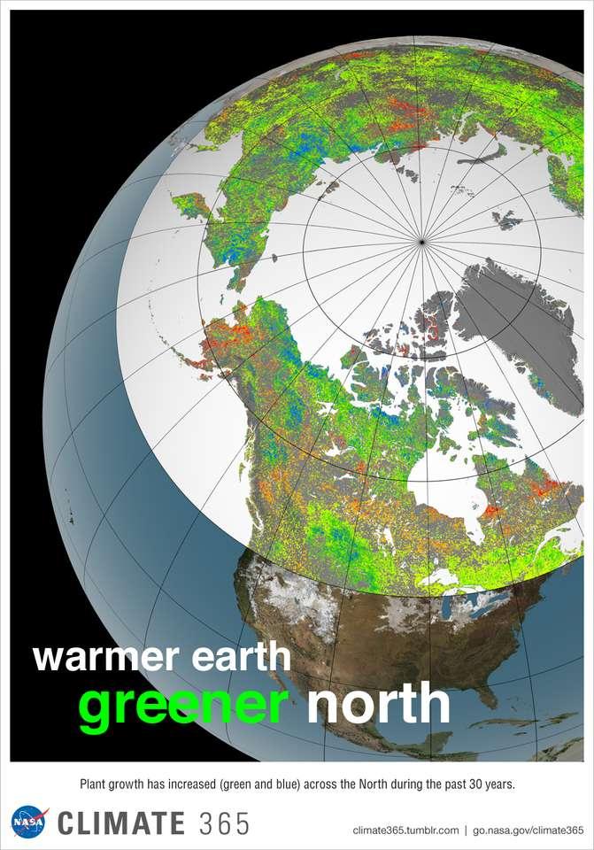 Cieplejsza ziemia, bardziej zielona północ