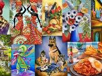 Kolaż obrazów puzzle ze zdjęcia