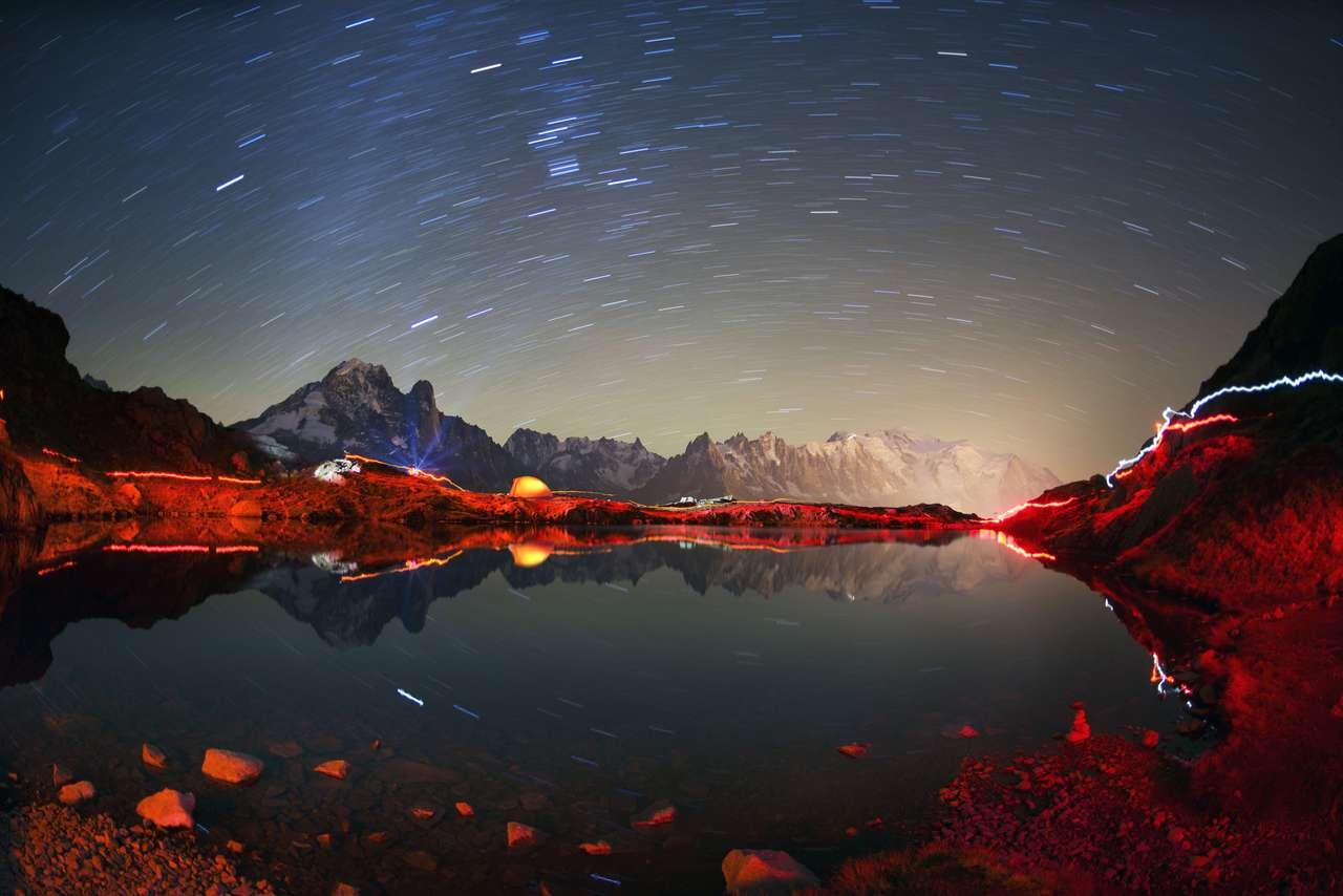 Mont Blanc widok w nocy puzzle ze zdjęcia
