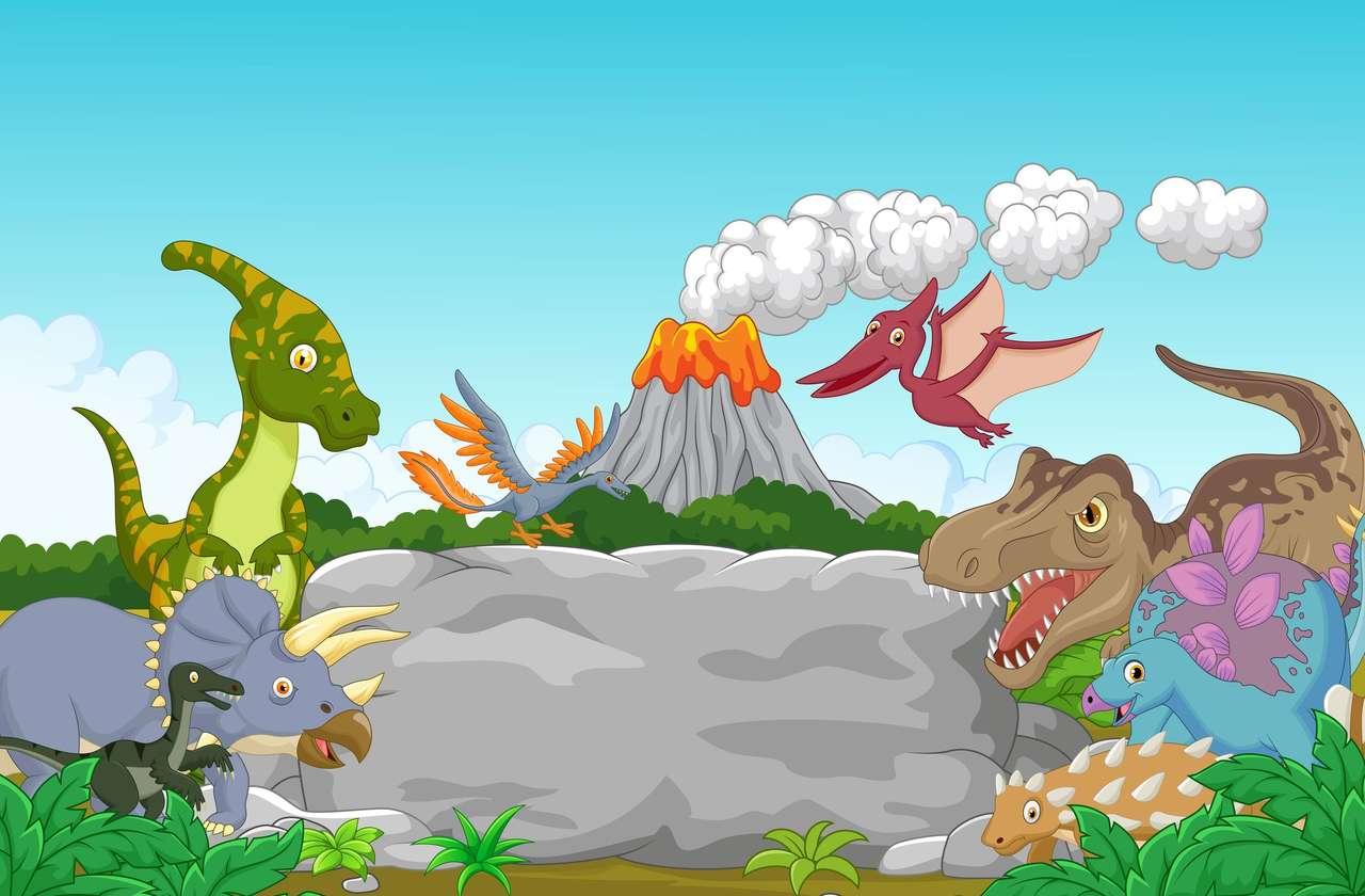 Dinozaury i wulkan