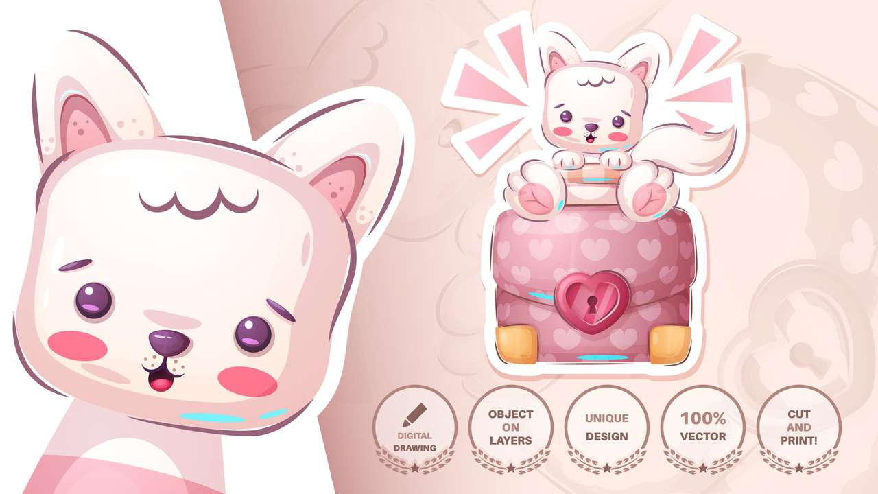 Różowy kotek puzzle online
