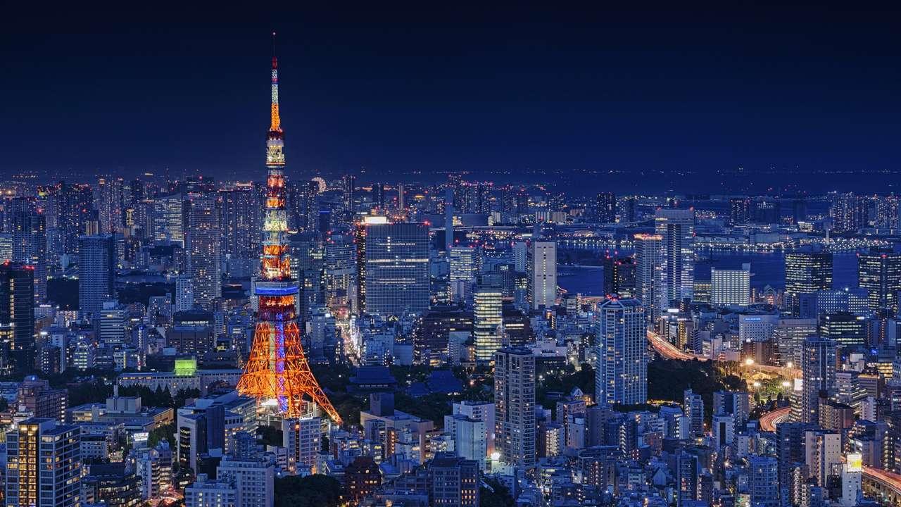 Tokyo Tower w nocy (Japonia)
