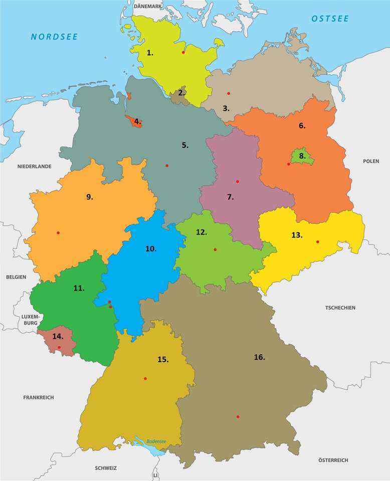 Bundesländer. puzzle ze zdjęcia
