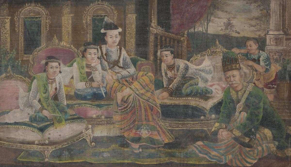 Portret rodziny królewskiej z wąsatym ministrem puzzle online