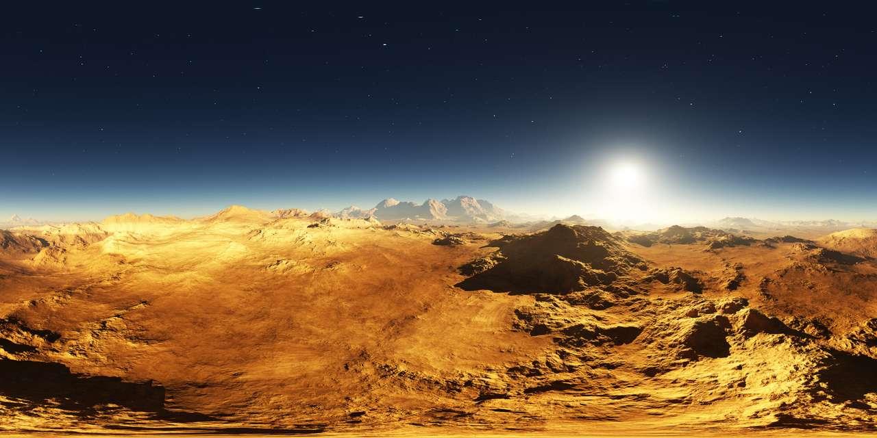 Panorama zachodu słońca na Marsie