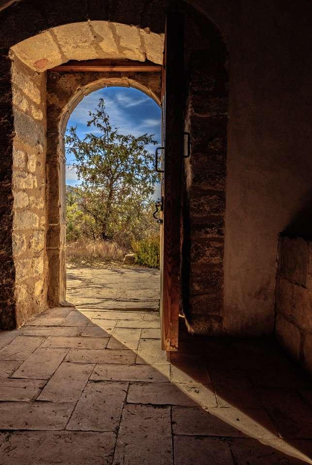drzwi z pejzażem z drzewem