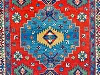 Kolorowa wełna ręcznie robiony dywan zbliżenie