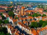 Widok z lotu ptaka lata pejzaż miejski Gdańsk