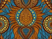 Afrykański druk w kolorach niebieskim, pomarańczowym i żółtym
