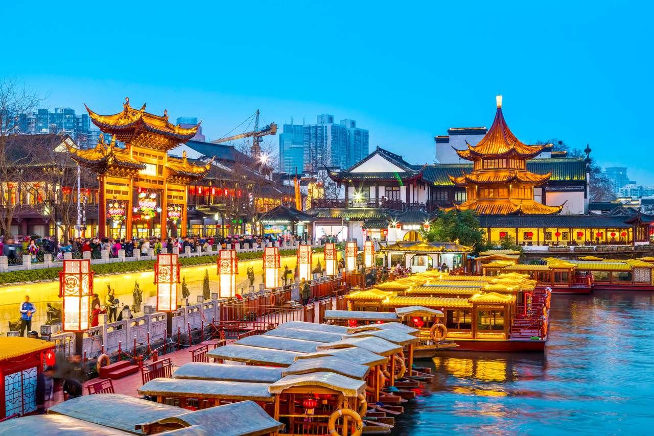 Krajobrazowy widok starożytnego miasta w Nanjing, Chiny