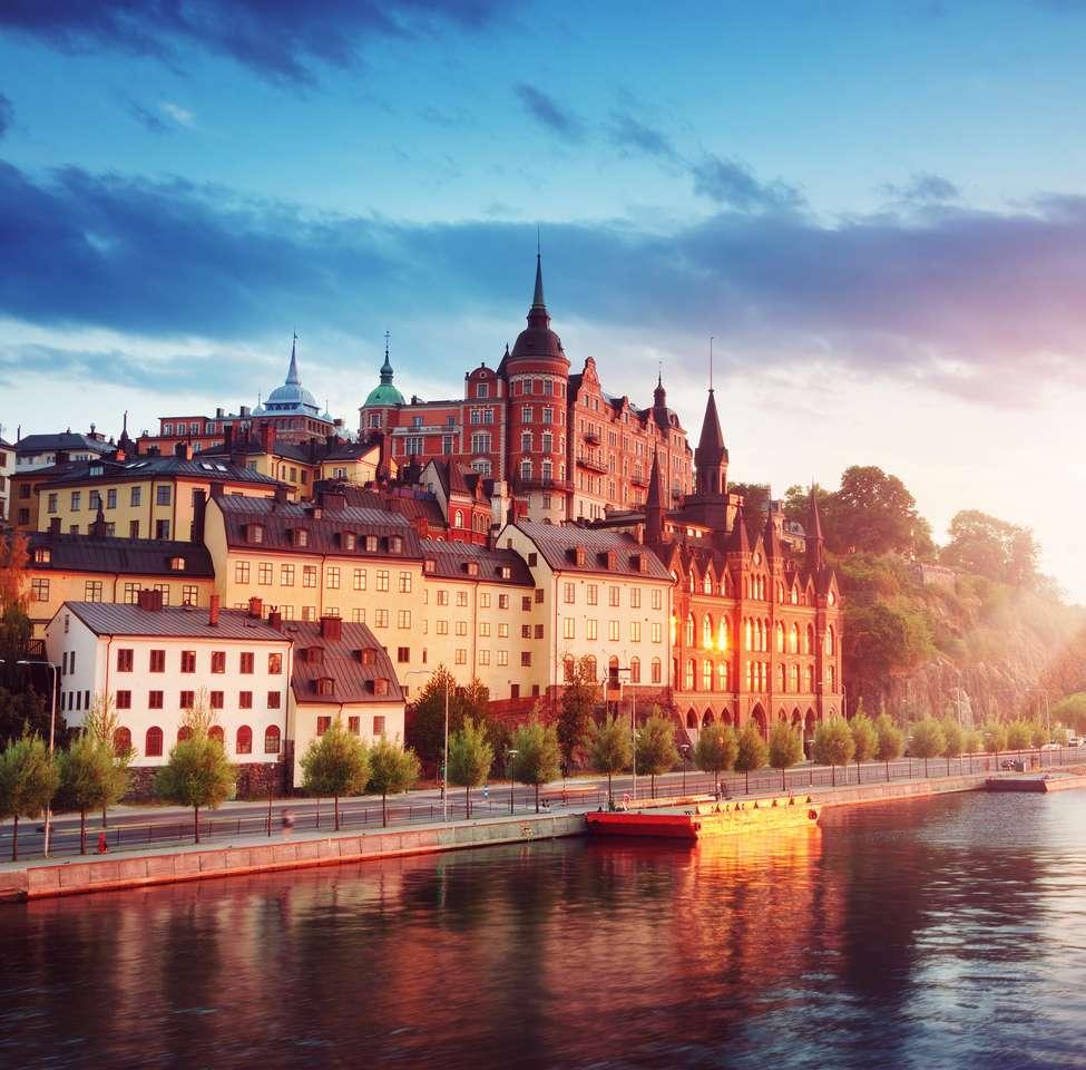Widok na Stary Sztokholm nocą w lecie? puzzle online