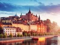 Widok na Stary Sztokholm nocą w lecie?