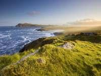 malowniczy widok na irlandzkie wybrzeże, dingle, w porannym świetle
