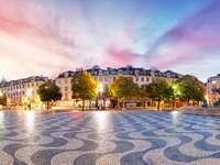 Panorama Lizbony na placu Rossio, Portugalia
