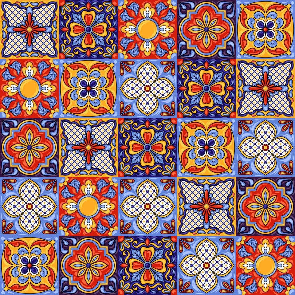 Wzór płytki ceramicznej meksykańskiej talavera puzzle